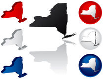 State of New York Icons. New York Icons in Red, White and Blue Royalty Free Stock Images