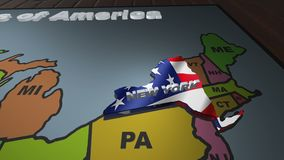 New York pull out from USA states abbreviations map. State New York pull out from USA map with american flag on background. A map of the US showing the two stock video