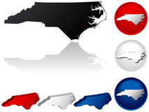 State of North Carolina Icons. North Carolina Icons in Red, White and Blue Stock Photography