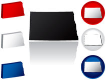 State of North Dakota Icons. North Dakota Icons in Red, White and Blue Royalty Free Stock Photo