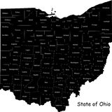 State of Ohio. Map of Ohio state designed in illustration with the counties Stock Images