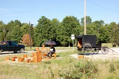 State Ohio. Amish buggy without horse nearby rural road in Ohio state,famous Amish baskets for sale very good staff for every home due to their quality royalty free stock photo