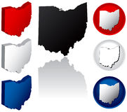 State of Ohio Icons. Ohio Icons in Red, White and Blue Royalty Free Stock Photography