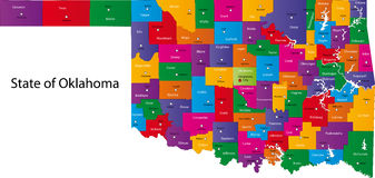 State of Oklahoma. Map of Oklahoma state designed in illustration with the counties and the county seats Stock Photos
