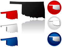 State of Oklahoma Icons. Oklahoma Icons in Red, White and Blue Stock Image