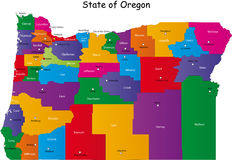 State of Oregon. Map of Oregon state designed in illustration with the counties and the county seats. (Map is hight resolution Stock Photos