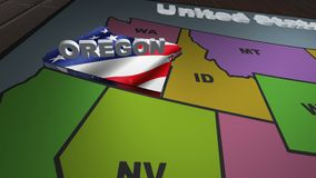 Oregon pull out from USA states abbreviations map. State Oregon pull out from USA map with american flag on background. A map of the US showing the two-letter stock video footage