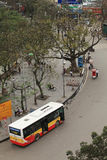 State owned bus parking on the side of street near Hoan Kiem lake Royalty Free Stock Photography