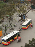 State owned bus parking on the side of street near Hoan Kiem lake Royalty Free Stock Image