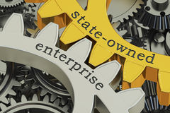 State-owned enterprise SOE concept on the gearwheels, 3D renderi. State-owned enterprise SOE concept on the gearwheels, 3D Stock Photography