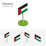 State of Palestine flag, vector set of 3D isometric icons. Palestinian flag State of Palestine, vector set of isometric flat icons, 3D style, different views royalty free illustration