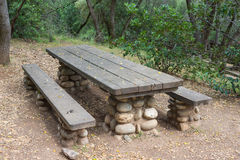 State Park Picnic Table. Wooden planked picnic table for lunch in the wilderness of a state park Royalty Free Stock Photos