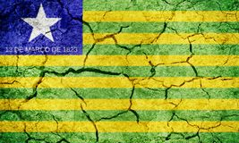 State of Piaui, state of Brazil, flag. On dry earth ground texture background Stock Photos