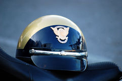 State Police Helmet on a motorcycle seat Royalty Free Stock Photography