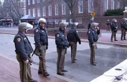 State Police in riot gear stand by royalty free stock images
