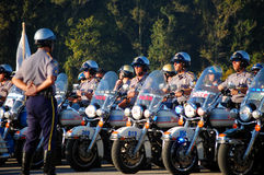 State Policemen on motorcycles beginning ceremony. Picture of a line of Policemen on motorcycles at the Gulf Coast Police Motorcycle Skills Championship, held on Royalty Free Stock Photo