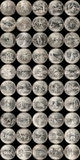 State Quarters. Collage of complete collection of fifty US State Quarters on black Royalty Free Stock Photos