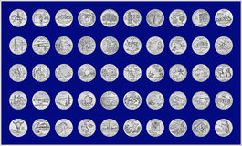 50 State Quarters. Illustration of all 50 state quarters with silvery grunge appearance,a blue background and assorted by statehood and year of release Stock Photography