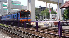 State Railways of Thailand SRT Blue diesel electric train locomotive parked at Donmuang railway station. Donmuang Bangkok, Thailand - January 13, 2016: A State royalty free stock photography