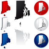 State of Rhode Island Icons. Rhode Island Icons in Red, White and Blue Royalty Free Stock Photography