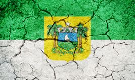 State of Rio Grande do Norte, state of Brazil, flag. On dry earth ground texture background Royalty Free Stock Images