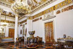 The State Russian Museum, the interior of the white-column hall, St. Petersburg stock photos