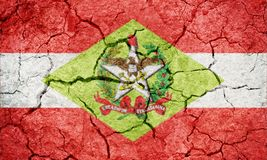 State of Santa Catarina, state of Brazil, flag. On dry earth ground texture background Stock Images