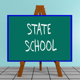 State School concept. 3D illustration of STATE SCHOOL title on a tripod display board Royalty Free Stock Images