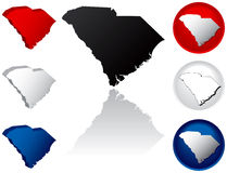 State of South Carolina Icons. South Carolina Icons in Red, White and Blue Royalty Free Stock Photos