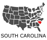 State of South Carolina on map of USA Stock Photo
