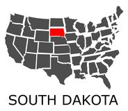 State of South Dakota on map of USA Royalty Free Stock Photos