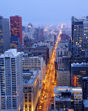 State Street In Downtown Chicago At Night Royalty Free Stock Photo