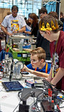 State Teen Robotics Competition. SEATTLE, WA - MARCH 17: Teens competed at a state level competition for science and technology robotics competition. Held on royalty free stock photo
