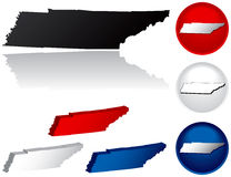 State of Tennessee Icons. Tennessee Icons in Red, White and Blue Stock Photo