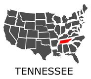 State of Tennessee on map of USA Royalty Free Stock Image