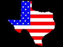 State of texas. Map of the State of texas and American flag Stock Image