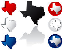 State of Texas Icons. Texas Icons in Red White and Blue Stock Image