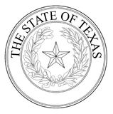 The State Of Texas Seal. The seal of the United Steas of American state TEXAS black line drawing isolated on a white background Royalty Free Stock Photography
