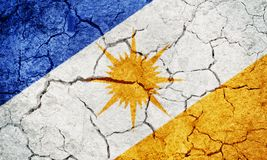 State of Tocantins, state of Brazil, flag. On dry earth ground texture background Stock Photo