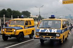 State transport safety inspection cars at First Moscow Parade of City Transport Royalty Free Stock Image