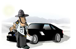 State Trooper. This illustration that I created depicts a State Trooper standing next to a Mustang Stock Photo