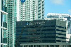 State Trust building. MIAMI, USA - AUGUST 22, 2018: State Trust building in downtown Miami Florida royalty free stock photo