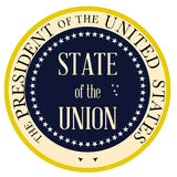 State of the Union. Button based upon the presidential seal of the United States of America Royalty Free Stock Images
