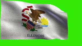 State of The United States of America, USA state, Flag of Illinois, IL, Springfield, ChicagoDecember 3 1818 - LOOP. Beautiful 3d flag animation on green/blue stock footage