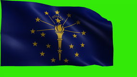 State of The United States of America, USA state, Flag of Indiana, IN, Indianapolis, Indianapolis, December 11 1816 - LOOP. Beautiful 3d flag animation on green/ stock footage