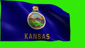 State of The United States of America, USA state, Flag of Kansas KS, Topeka, Wichita, January 29 18611 - LOOP. Beautiful 3d flag animation on green/blue screen stock footage