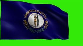 State of The United States of America, USA state, Flag of Kentucky KY Frankfort, Louisville June 1 1792 - LOOP. Beautiful 3d flag animation on green/blue screen stock footage