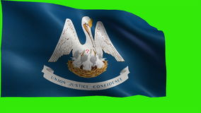 State of The United States of America, USA state, Flag of Louisiana, LA, Baton, Rouge, New Orleans, April 30 1812 - LOOP. Beautiful 3d flag animation on green/ stock video footage