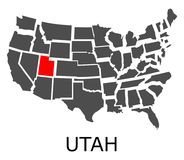 State of Utah on map of USA Stock Photos