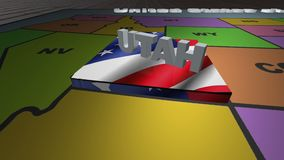 Utah pull out from USA states abbreviations map. State Utah pull out from USA map with american flag on background. A map of the US showing the two-letter stock footage
